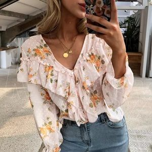 COMING SOON! FLORAL RUFFLE BLOUSE